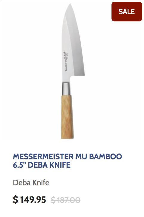 Messermeister Mu Bamboo 6.5 Inch Deba Knife