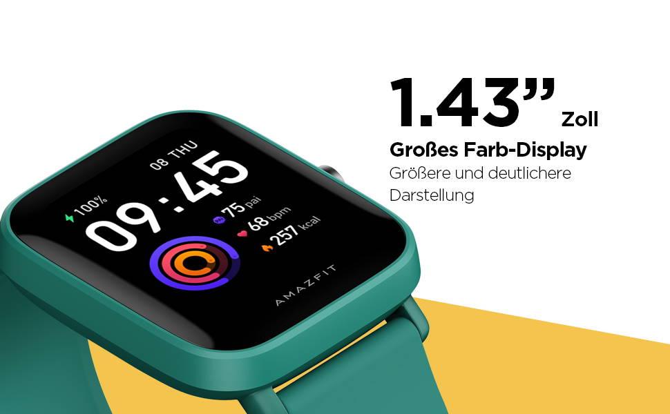"""Amazfit Bip U Pro - 1,43""""-Zoll großes Farb-Display Größere und deutlichere Darstellung"""