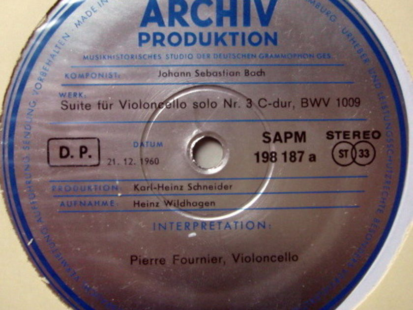 ★1st Press★ Archiv / FOURNIER, - Bach Suites for Cello Solo No.3 & 4, MINT!
