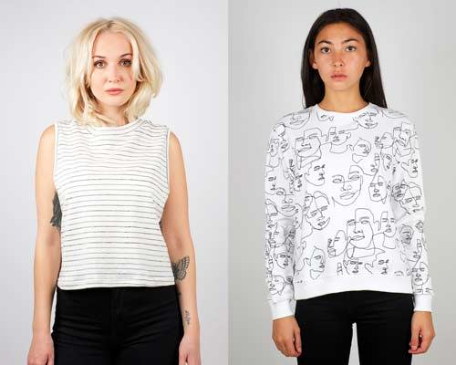 Woman wearing sleeveless organic cotton top with black jeans and woman wearing organic cotton white sweatshirt with black faces print combined with black jeans, both from sustainable fashion brand Dedicated