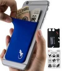 phone wallet Blue with White logo by gecko travel tech