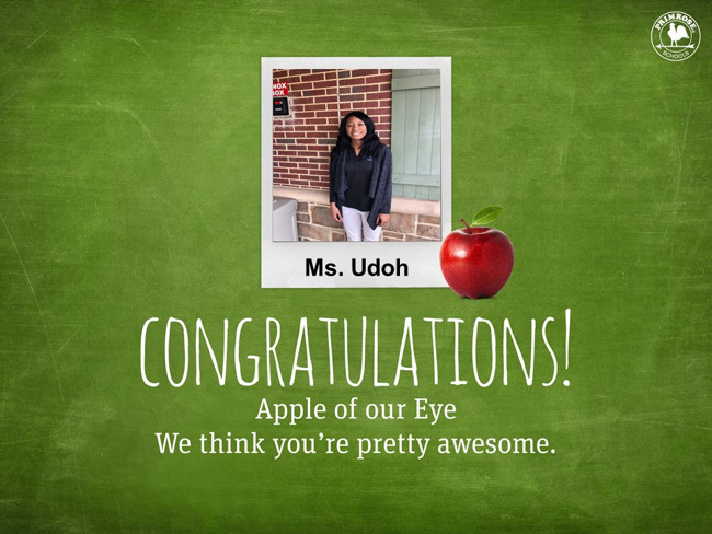 Ms. Udoh teacher of the month
