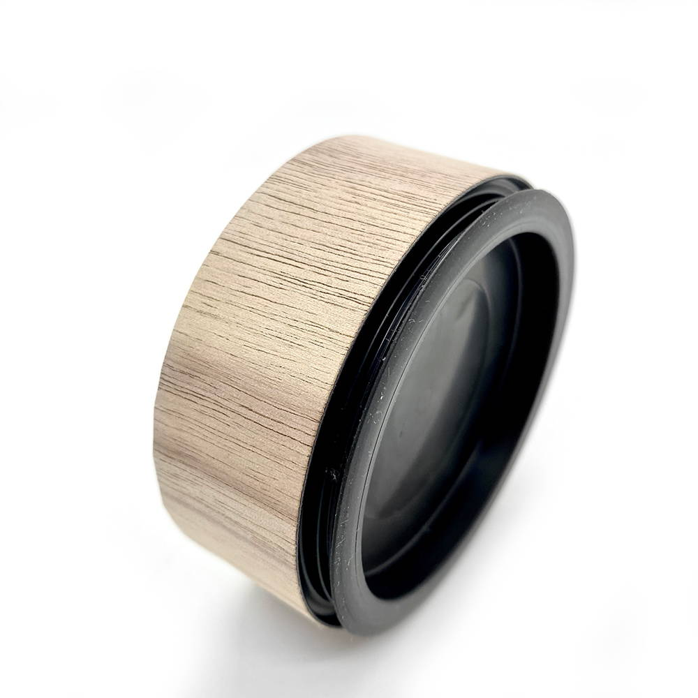 airtight odour proof tea canister wrapped in wood.