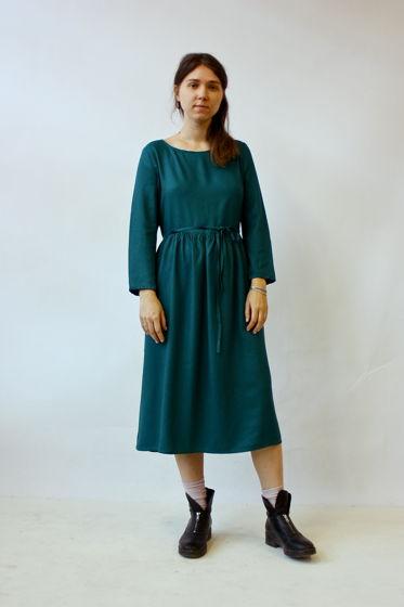 Платье с завязками, изумрудное