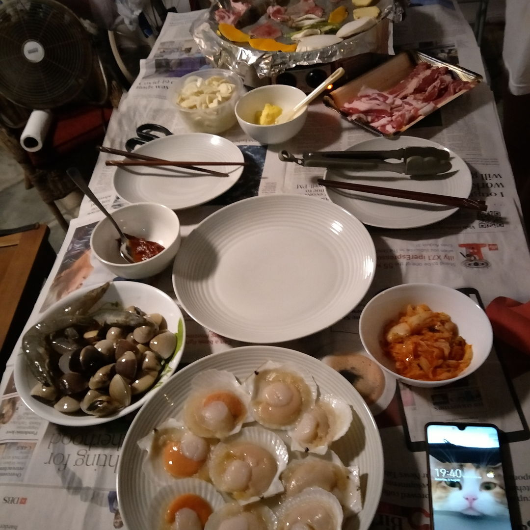Korean BBQ cooked at home - scallops, prawns, wagyu beef, belly pork, clams, mixed veg, garlic and all the trimmings! DELICIOUS
