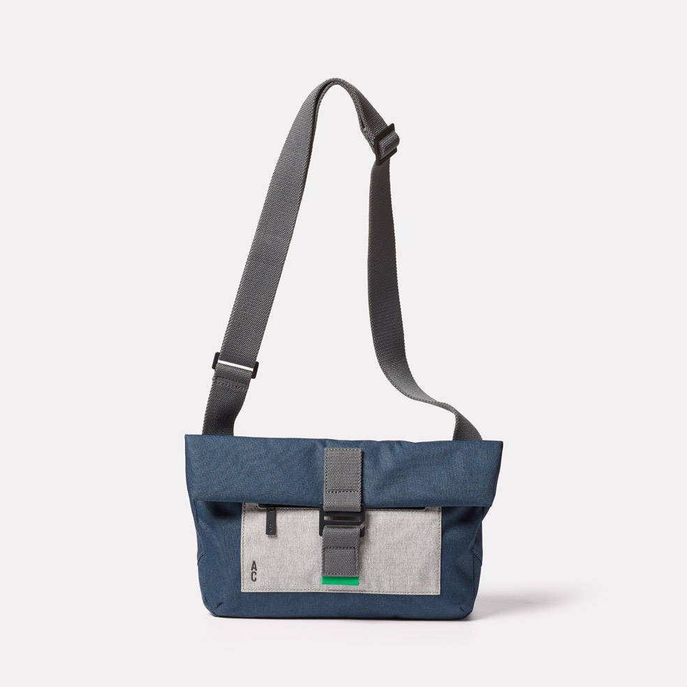 Travis Non Leather Travel Cycle Satchel in Navy/Grey