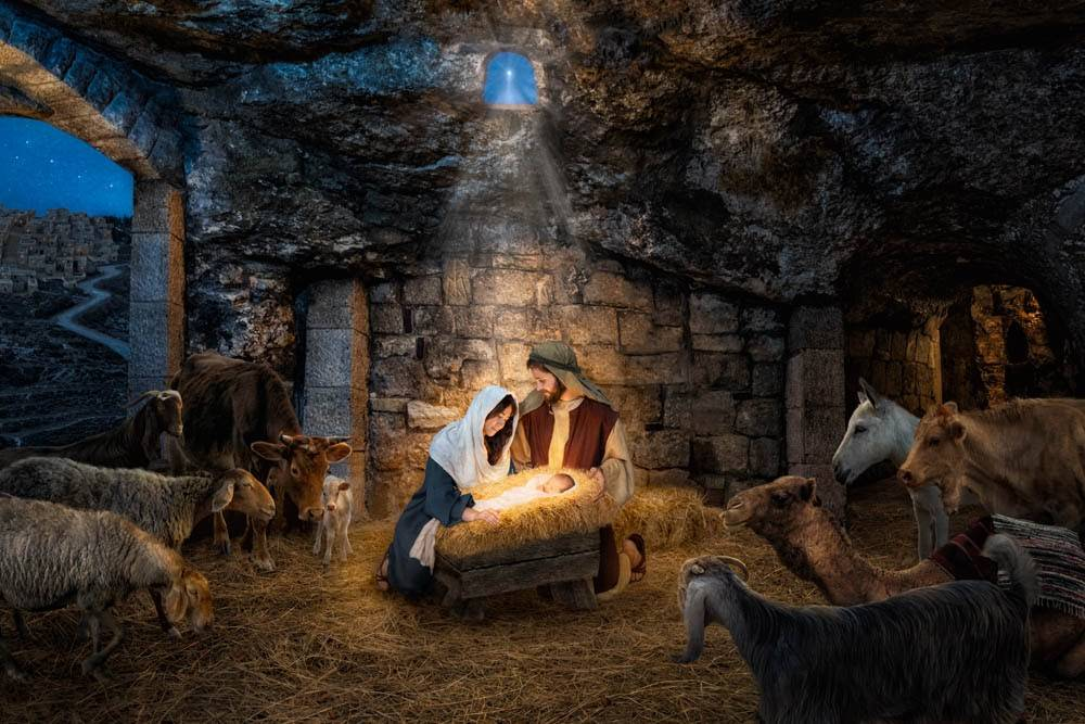 LDS Nativity art print of Mary and Joseph in the stable watching over the baby Jesus.
