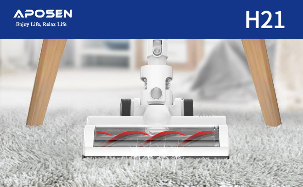 APOSEN 21Kpa Cordless Vacuum Cleaner Ultra-Lightweight & Quiet H21 is easily to clean your carpet