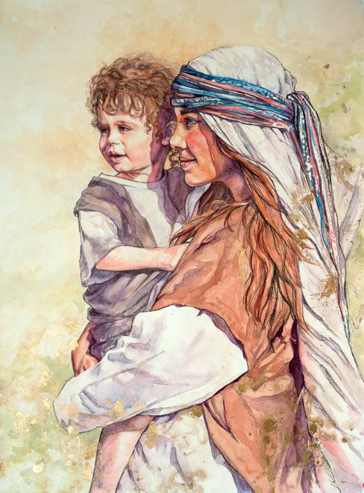 LDS art painting of Mary holding young Jesus and watching for Joseph's arrival.