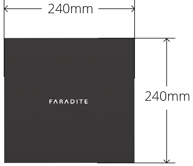 Faradite TAP Sample Case with folded dimensions