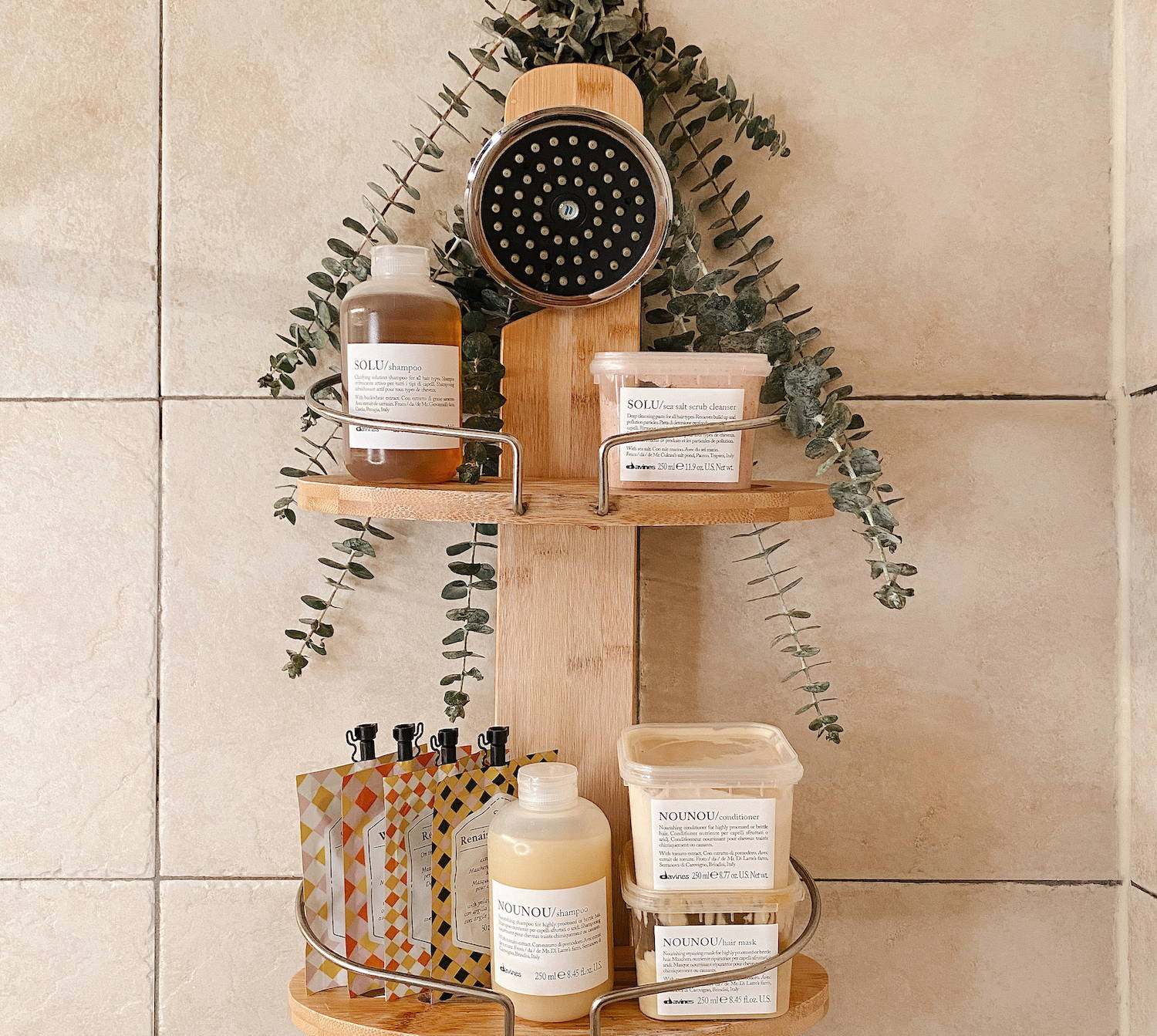 Davines products pre-poo shower shot