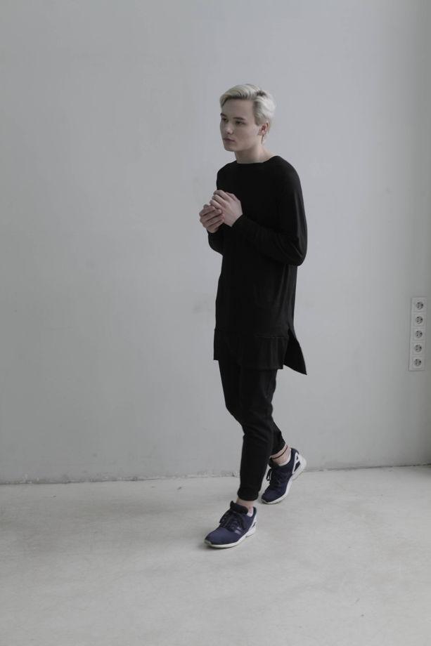 Черный мужской черный свитшот с разрезами