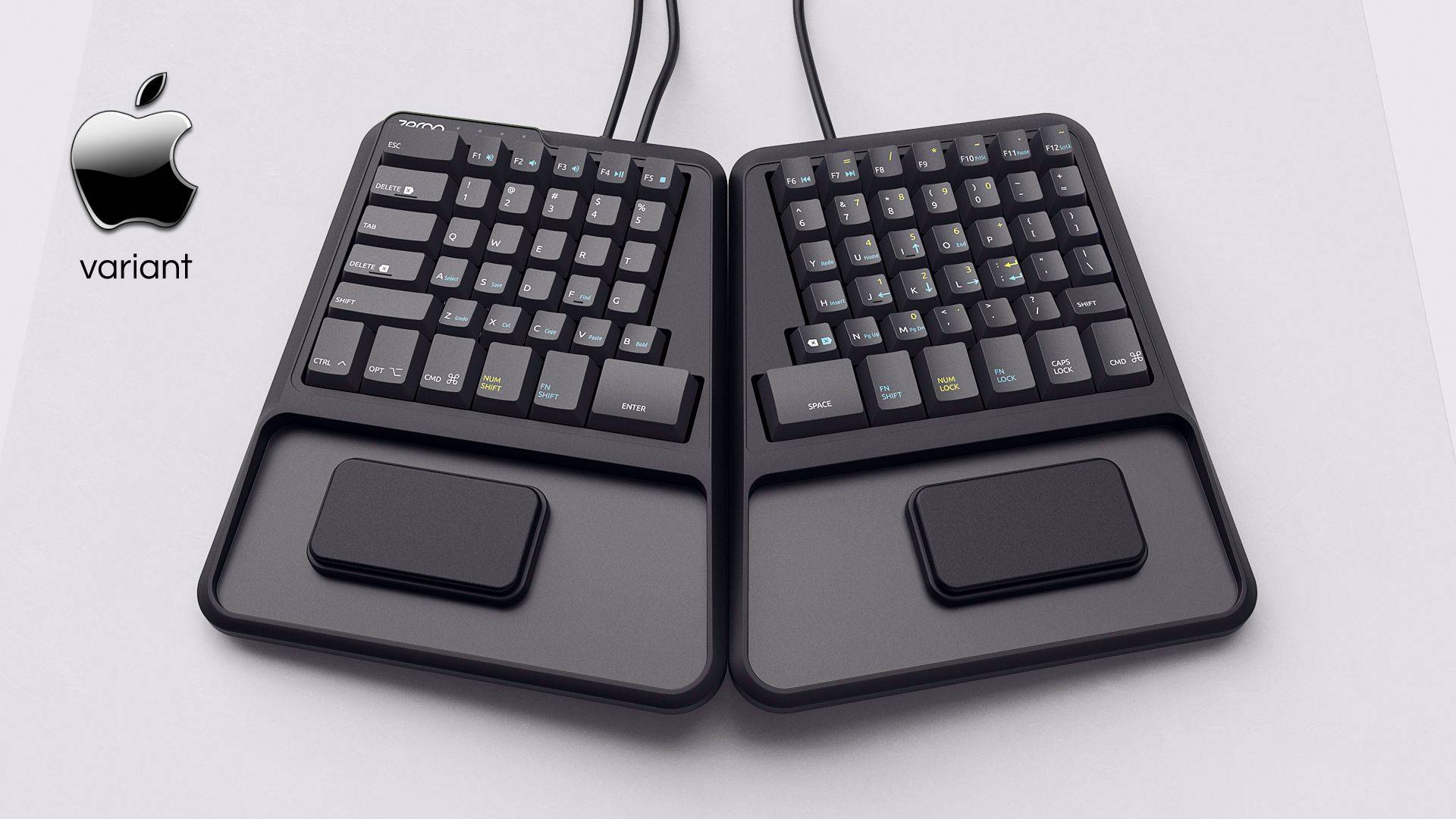 Zergotech Freedom top hero view mechanical keyboard ergonomic