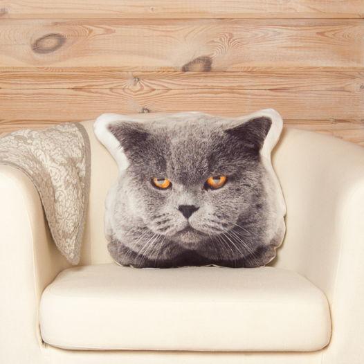 Подушка Серый кот – льняная декоративная подушка в виде морды серого кота