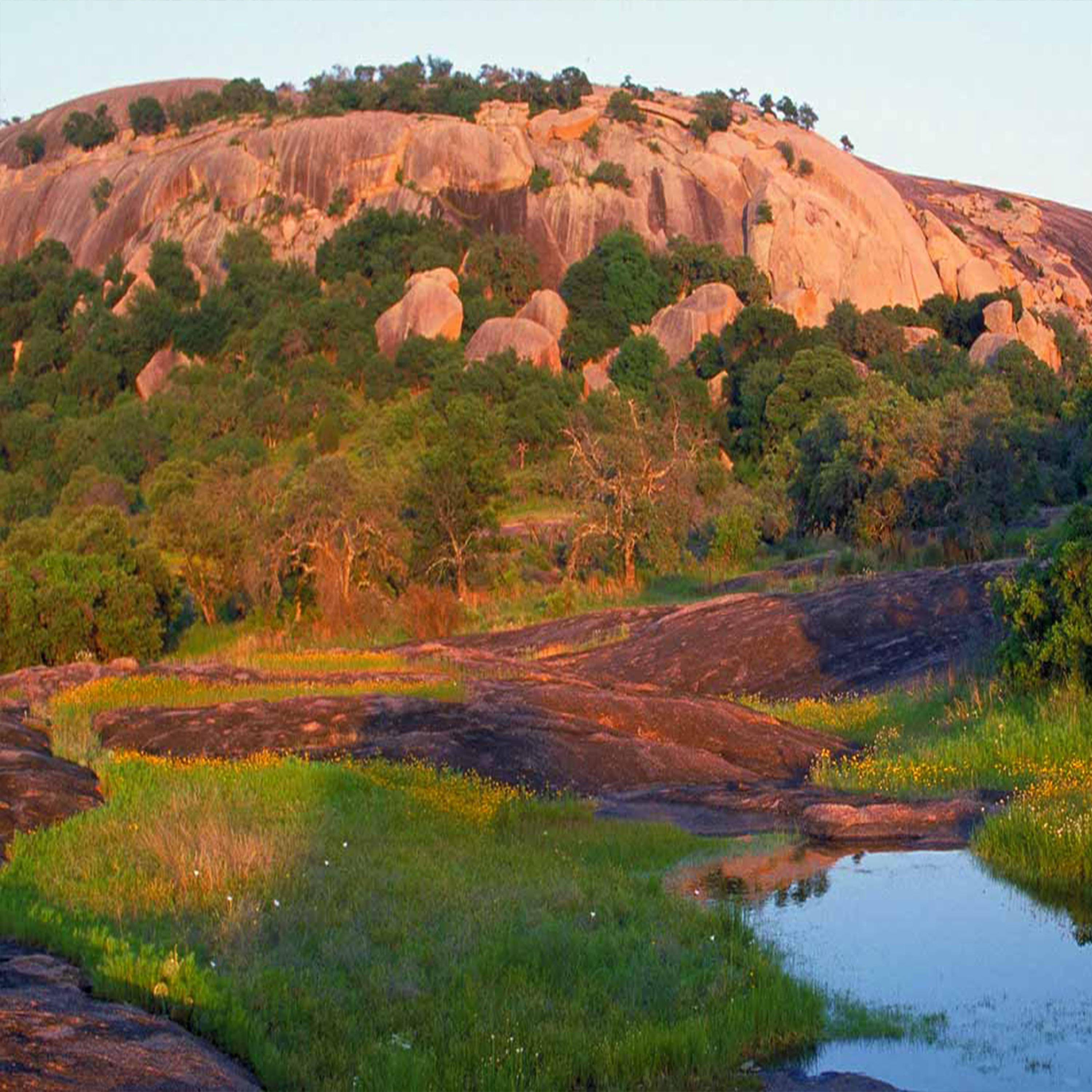Enchanted Rock State Natural Area, Pink Granite Rock, Large Rock Formations, Hiking and Camping Spot, Rock Climbing Spot