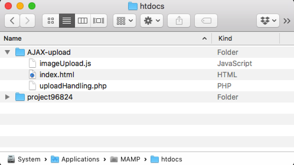 macOS Finder window, htdocs folder with AJAX upload website containing HTML, JS and PHP