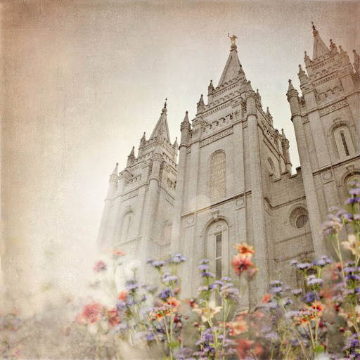 LDS art picture of the Salt Lake City Temple, surrounded by spring flowers.