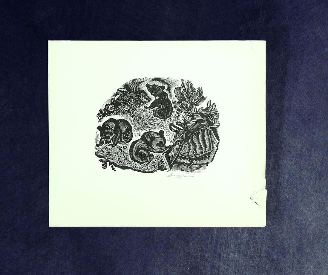 """""""Мишки"""". Ксилография, 60-е. Автор Владимир Жуков. Известный иллюстратор, анималист, работы которого украшали не одно издание!"""