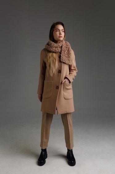 Женское пальто LOVE-li-NESS с асимметричным краем, из шерсти с кашемиром