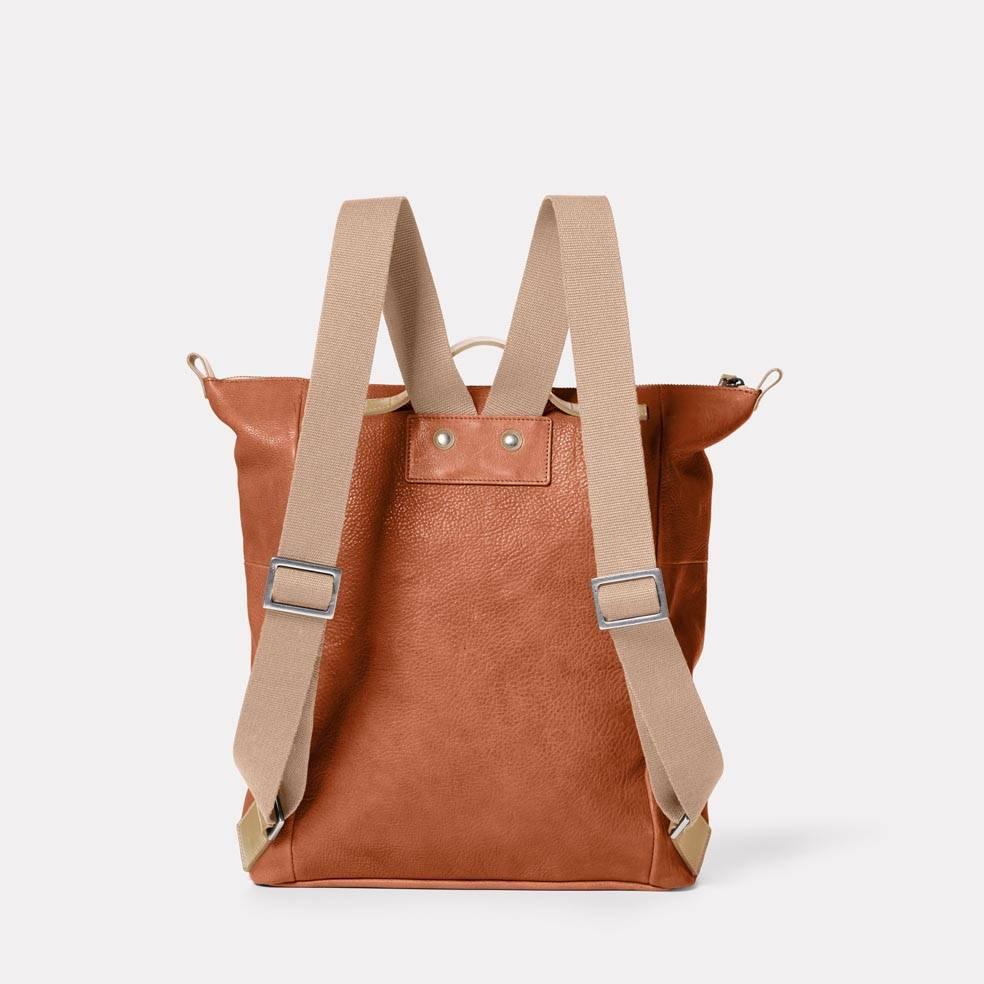 Hoy Mini Leather Backpack in Tan Back