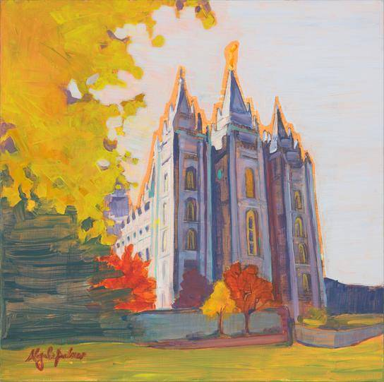 Painting of the Salt Lake Temple with an orange outline. Surrounded by autumn trees.