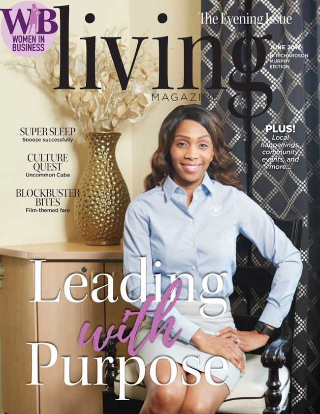 Sharon Tanyi featured on the cover of Living magazine