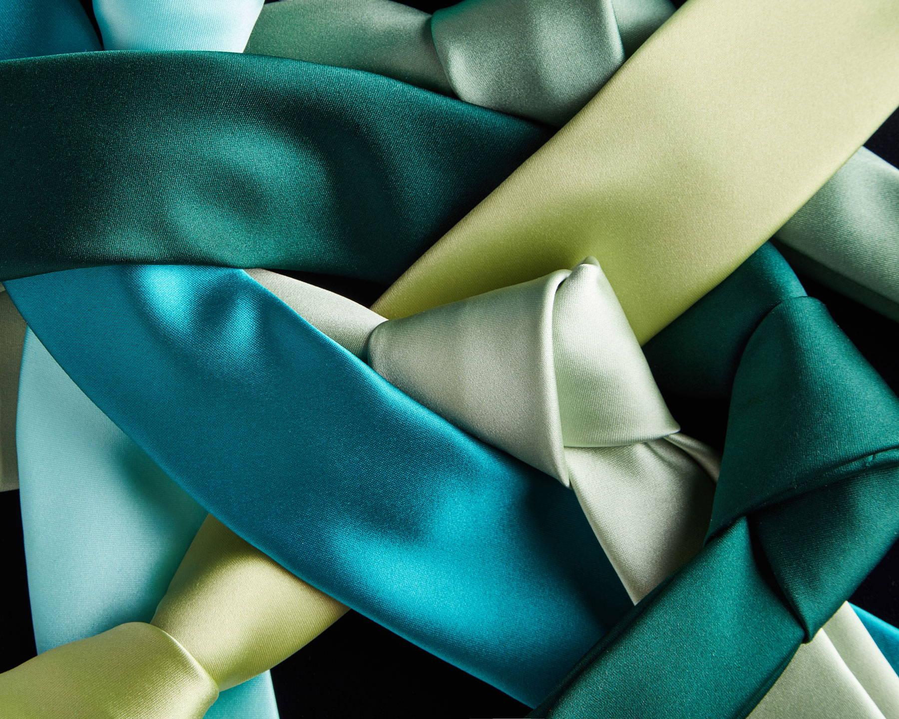 Green ties laid flat