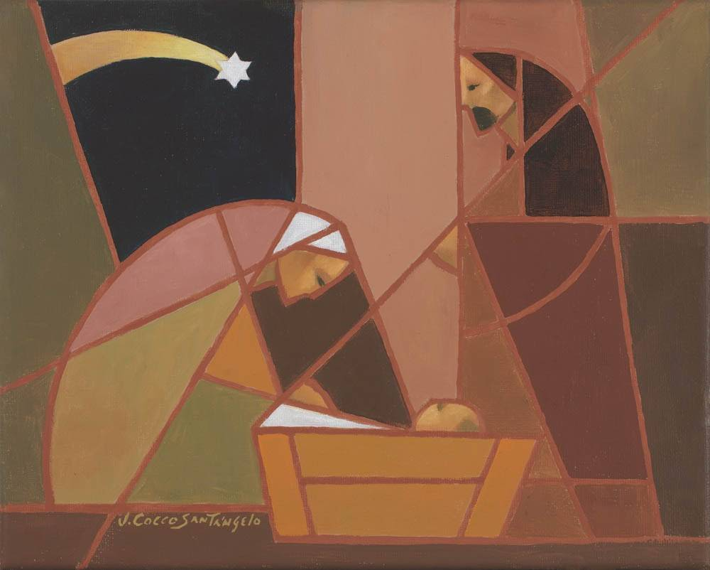 Modern LDS art painting of the Nativity scene in warm colors.