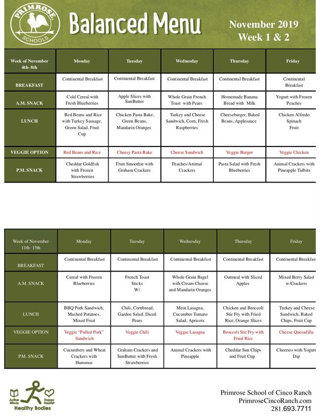 November menu 2019