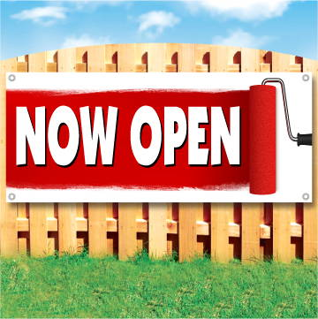 Wood fence displaying a banner saying 'Now Open' in white text on a red background with large paint roller