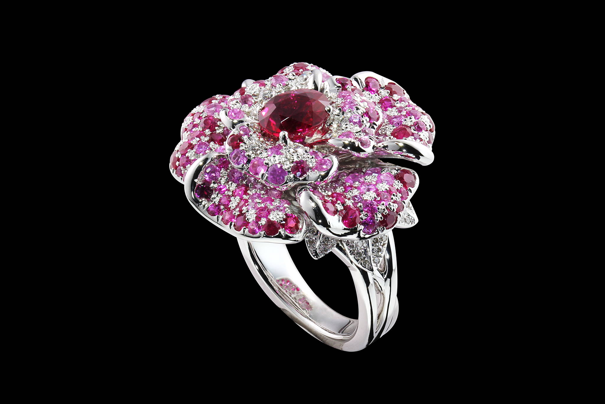 Burmese Rose ring 45 degrees yves lemay jewelry