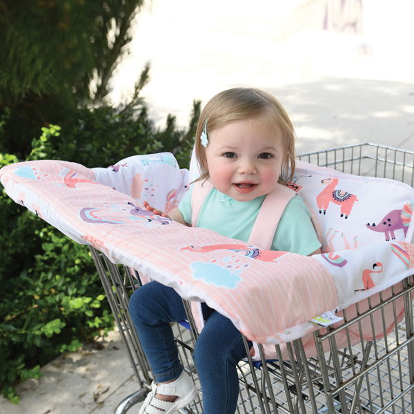 child with shopping cart & high chair covers