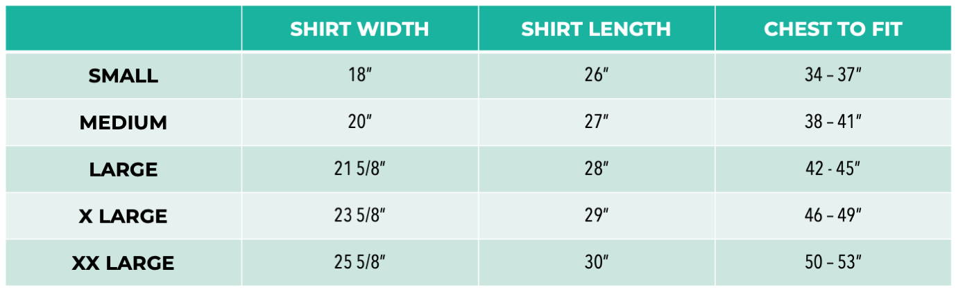 Pet It Forward Muscle Tank Sizing Chart