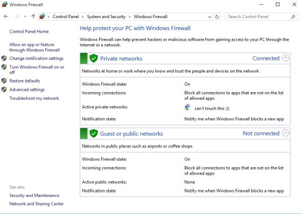 windows 10 network firewall settings