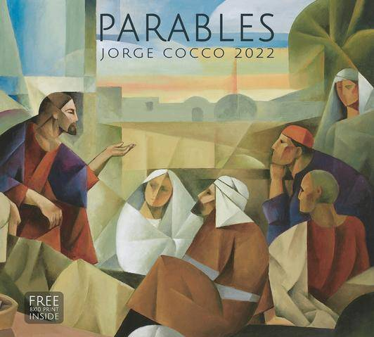 2022 Christian calendar featuring an abstract painting of Jesus teaching a group of people.