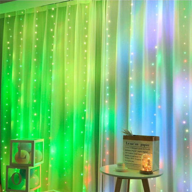 Multi color fairy lights curtain with LED lights and 16 color effects with remote control