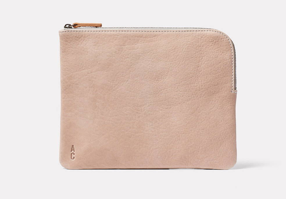 Hocker Large Leather Purse in Grey