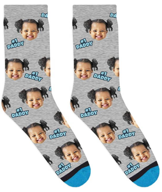 Are you looking for a cute and cool present for Dad? Just send a funny portrait picture of you and it will be customized into a cool and funny pair of socks for your Daddy. Well, make sure to take some pictures of how cool he's gonna be when he puts them on.