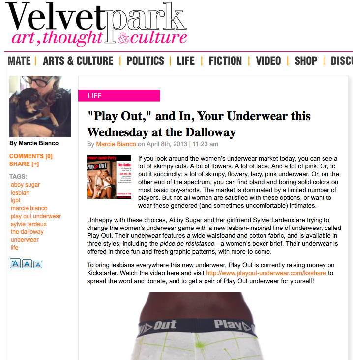 "Velvet Park - ""Play Out,"" and In, Your Underwear this Wednesday at the Dalloway"
