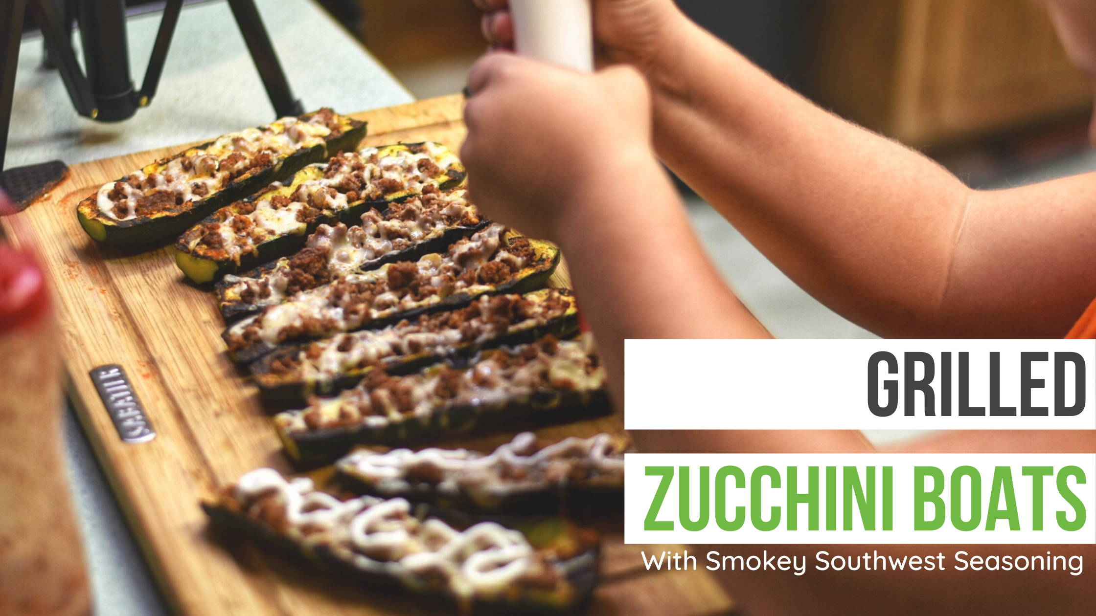 Grilled zucchini boats with Smokey Southwest Seasoning
