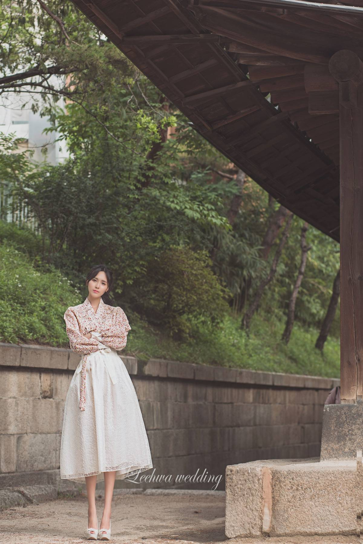 Modern everyday hanbok with blouse and short skirt