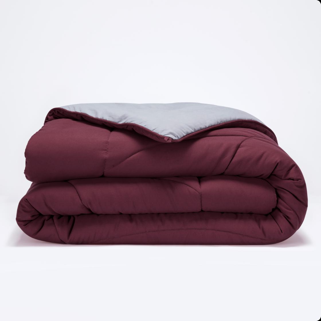 sleep zone bedding reversible comforter red grey gray body temperature regulation