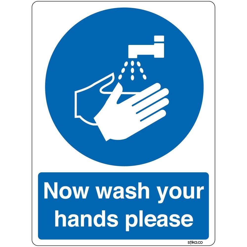 """Blue logo telling """"now wash your hands please"""""""