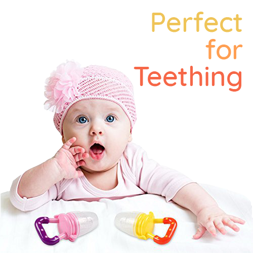 Young baby with pink hat lying on bed with two SuperTots food pacifiers