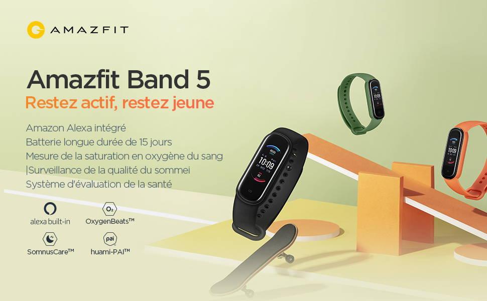Amazfit Band 5 - Restez actif, restez jeune - Amazon Alexa intégré | Batterie longue durée de 15 jours | Mesure de la saturation en oxygène du sang | Surveillance de la qualité du sommeil | Système d'évaluation de la santé