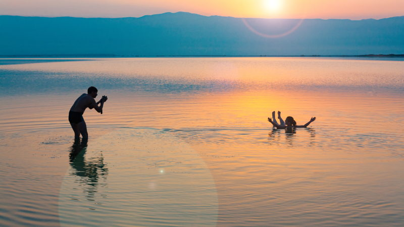 Floating in Dead Sea, Israel