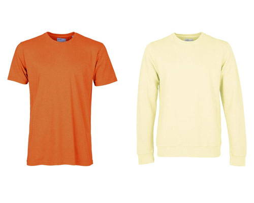 Bright orange organic cotton short sleeve t-shirt and bright neon yellow organic cotton sweatshirt from sustainable basics brand Colorful Standard