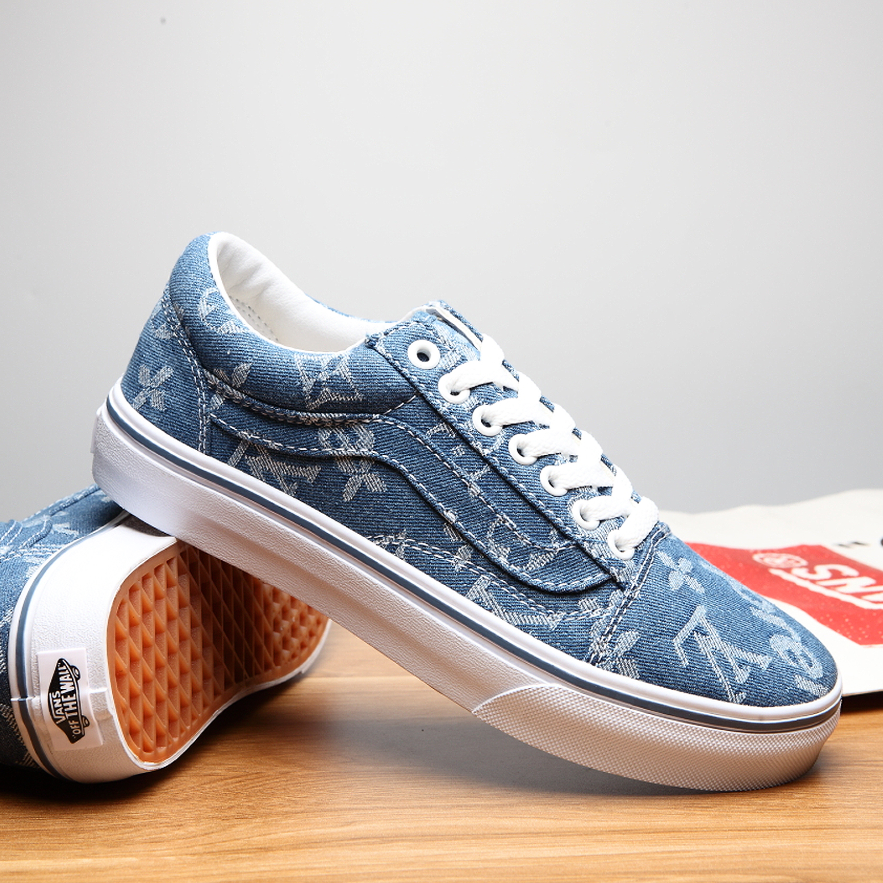 denim supreme x LV x vans - low a8a939592