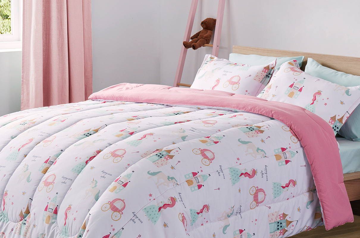 sleep zone bedding website store products collection all season reversible comforter princess dream kids comforter girl pink white