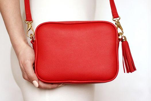 Красная кожаная сумка Leah